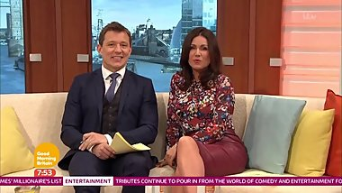Susanna Reid in tight red leather pencil skirt and high heels