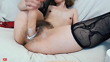 Supersamka, skinny webcam milf with flat tits and hairy pussy