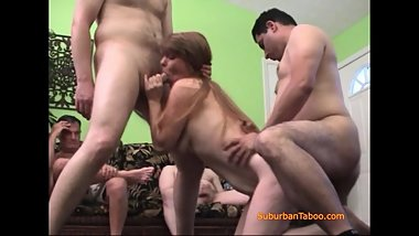 She Shows Off Her Pornstar Skills In a Swingers Gangbang