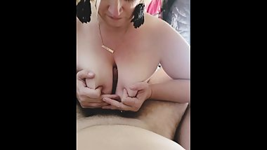 PAWG MILF blows and tittyfucks cock until empty